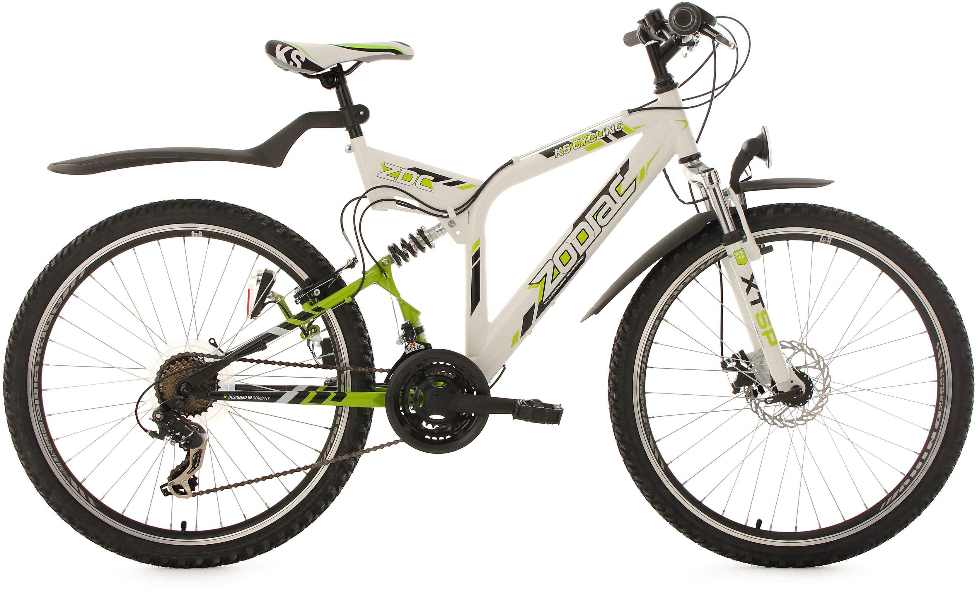 KS Cycling Fully-Mountainbike, 26 Zoll, 21 Gang-Shimano Tourney Kettenschaltung, weiß-grün, »Zodiac«
