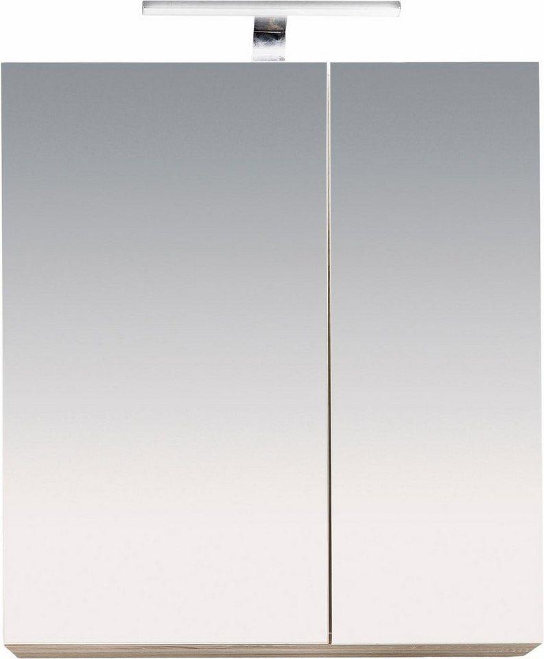 Welltime Spiegelschrank »Porto« in eichefarben/weiß