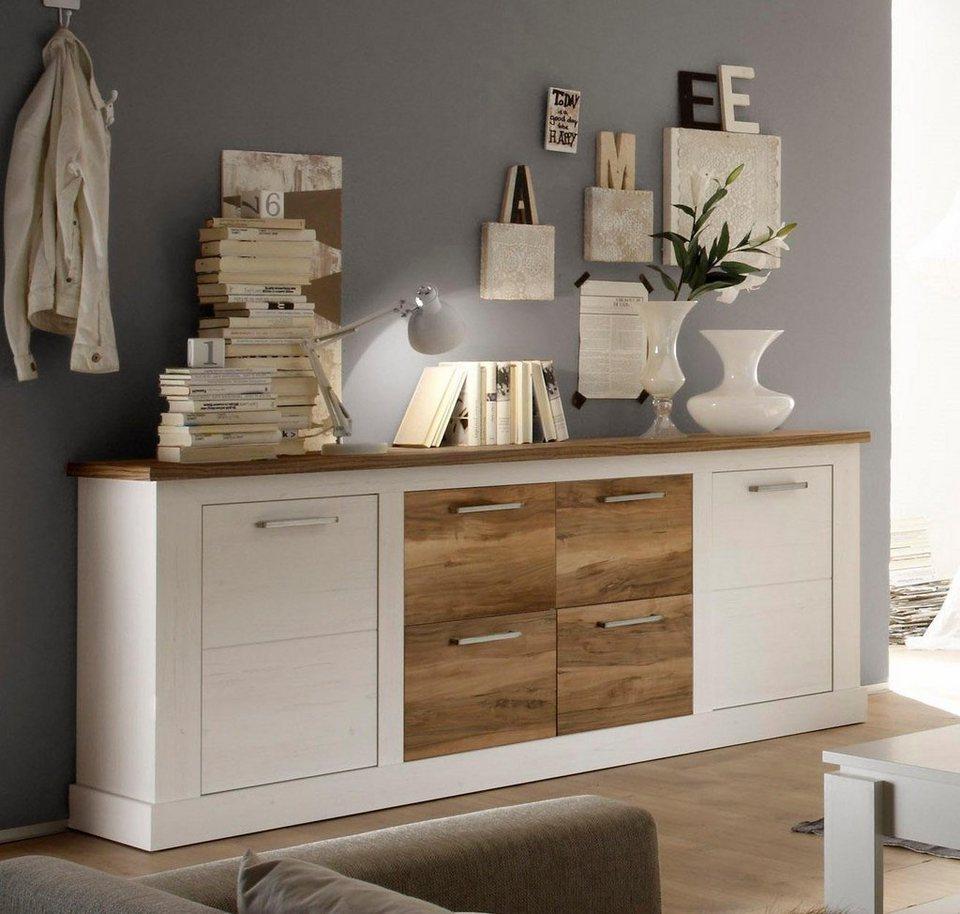 Sideboard, Breite 207 cm in piniefarben weiß