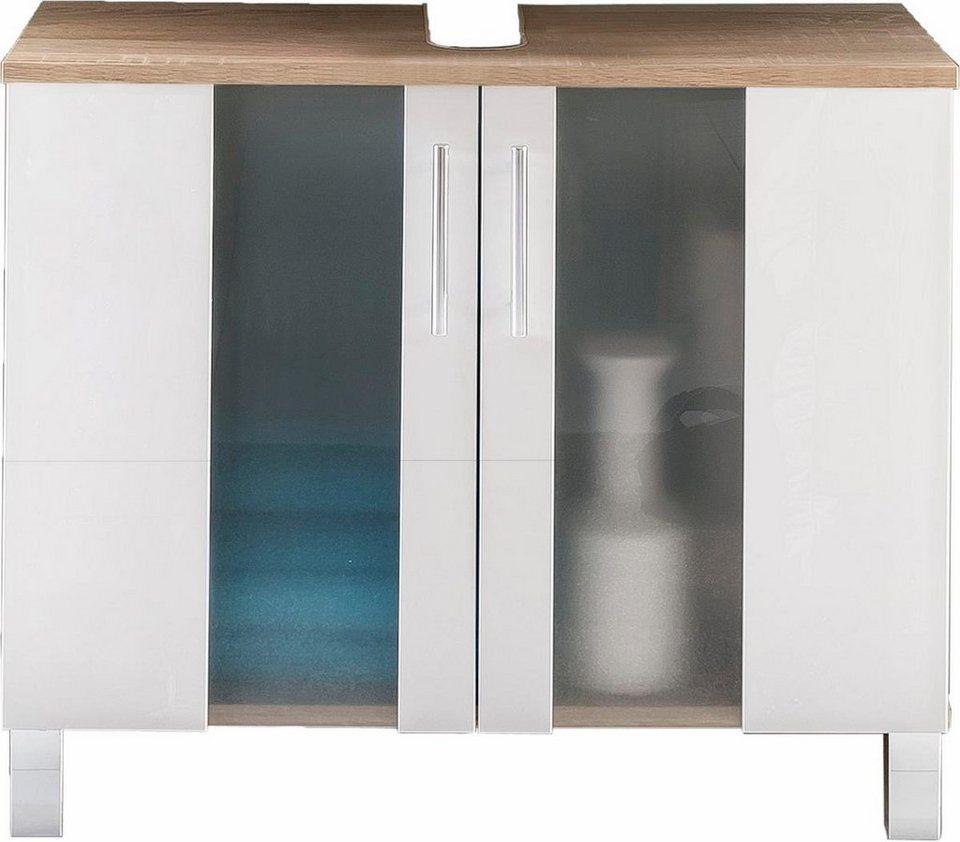 Welltime Waschbeckenunterschrank »Porto« in eichefarben/weiß