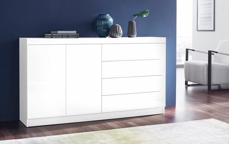 Sideboard, Breite 152 cm in weiß Hochglanz