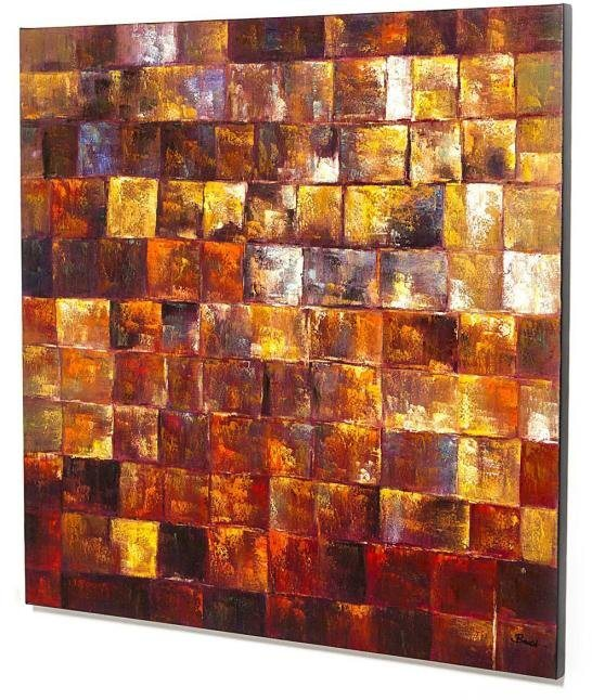 Home affaire Bild »Golden Mosaic«, Acryl auf Leinwand, 120/120 cm in goldfarben