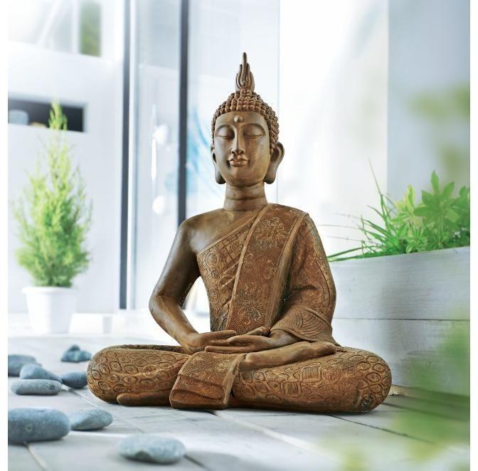 Home affaire Dekofigur »Buddha Silent«, mit Rostfinish in rot