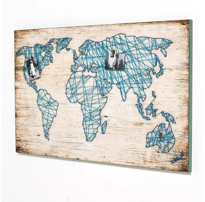 Home affaire Bild »Travel«, mit Weltkarte aus Bindfaden, 120/78 cm in blau