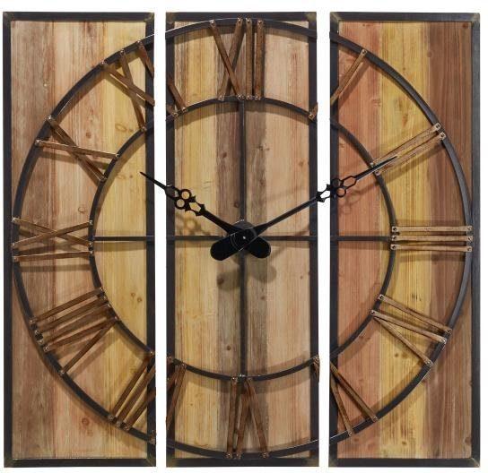 Home affaire 3-teilige Wanduhr »Wood«