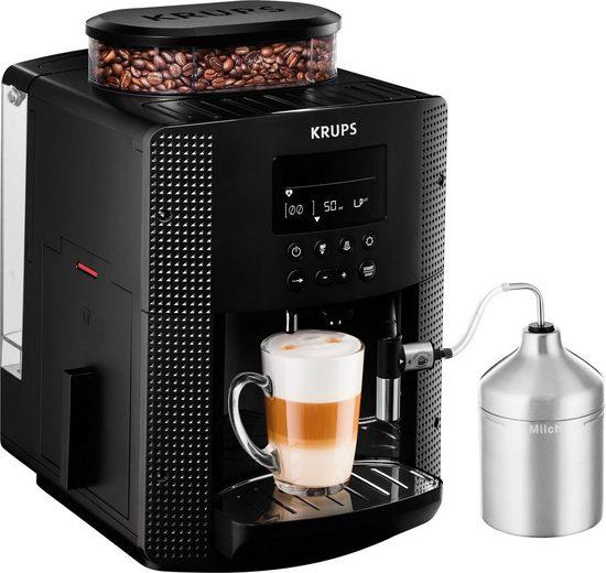 Krups Kaffeevollautomat Essential Espresso EA8160, Espresso Kaffee LCD Display - inkl. Auto Cappuccino XS6000 Set
