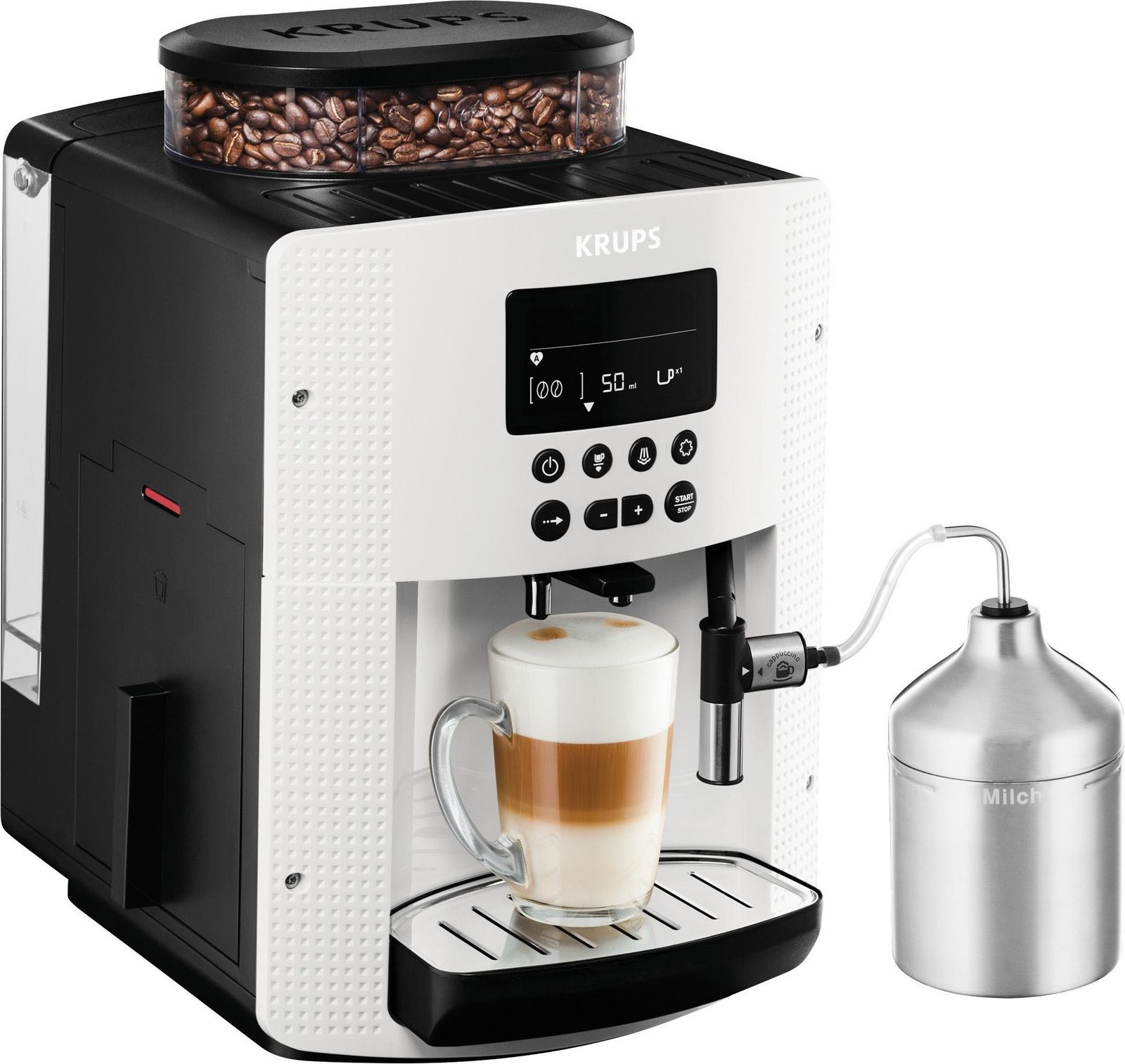 Krups Kaffeevollautomat EA8161, 1,8l Tank, Kegelmahlwerk, inkl. Edelstahl-Milchbehälter jetztbilligerkaufen