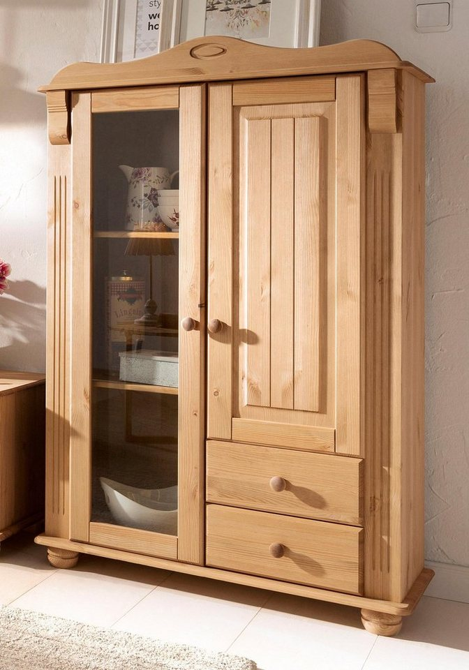 Home affaire Highboard »Adele«, Höhe 135 cm in gelaugt/geölt