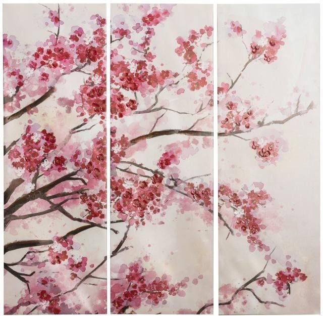 Home affaire 3-teiliges Bild »Kirschblüte«, 90/90 cm