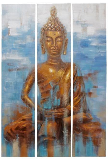 Home affaire 3 teiliges Bilder-Set »Buddha«, 120/180cm in goldfarben