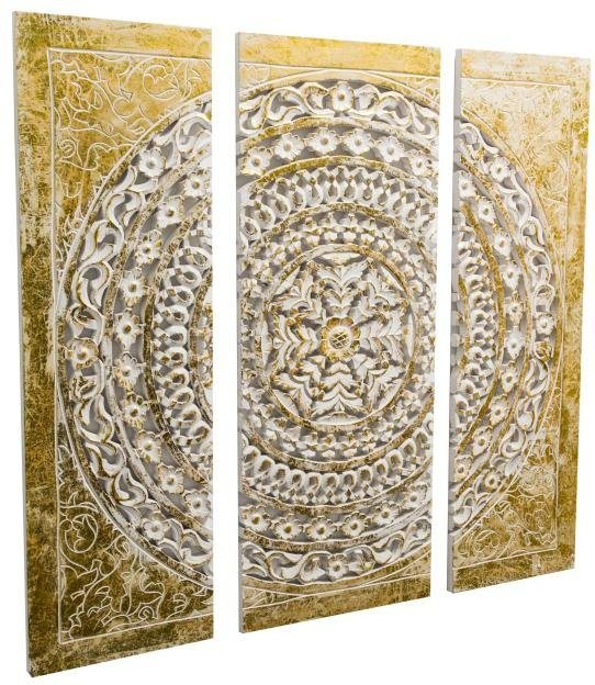 Home Affaire 3 Teilige Wanddeko Ornamentik Gold 90 90