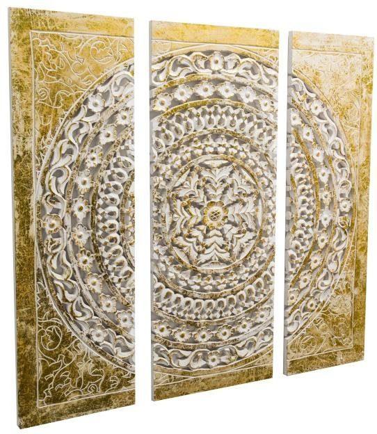 Home affaire 3-teilige Wanddeko »Ornamentik gold«, 90/90 cm