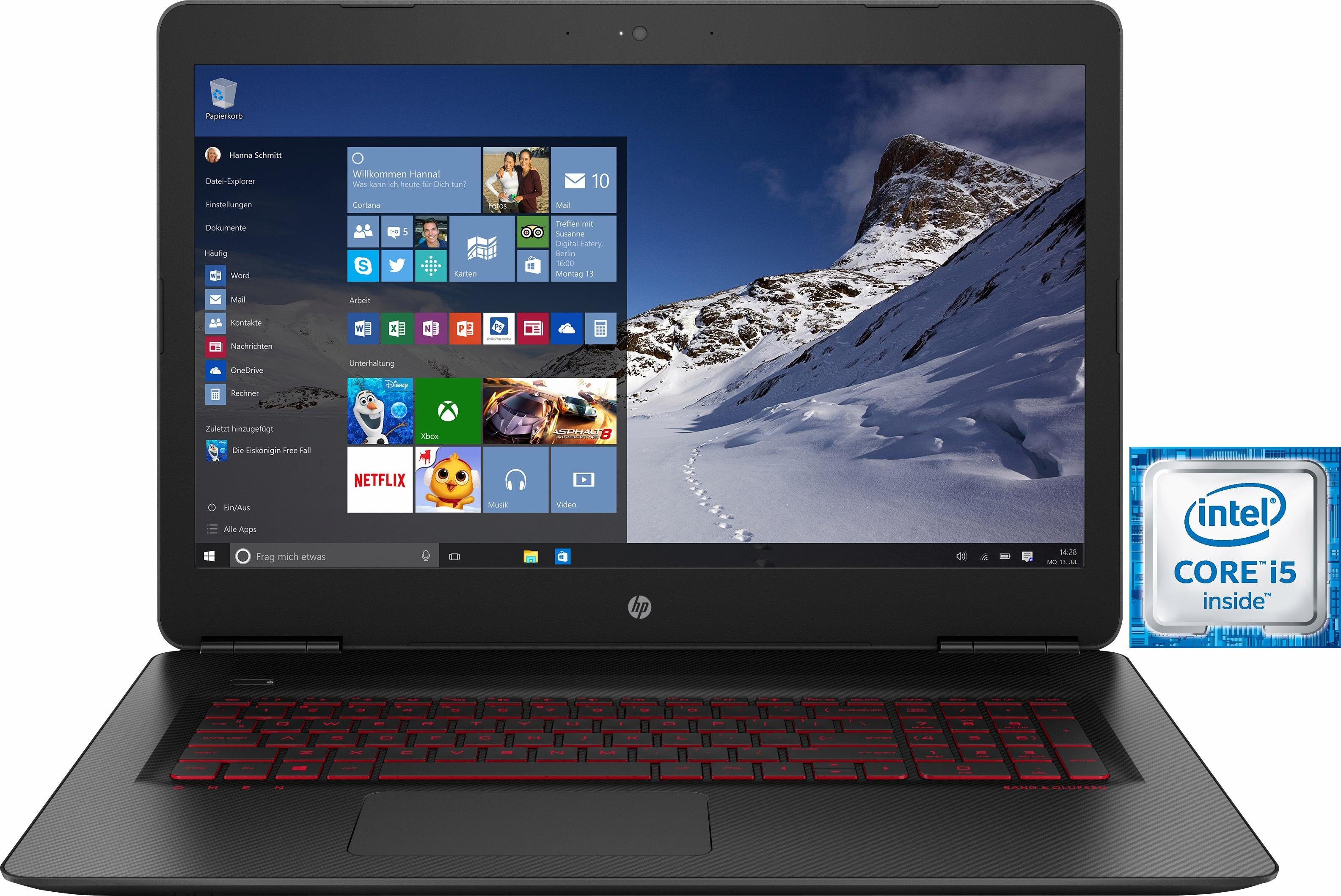 HP Gaming OMEN by 17-w005ng Notebook, Intel® Core™ i5, 43,9 cm (17,3 Zoll), 1128 GB Speicher