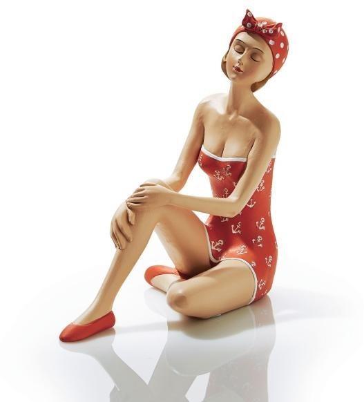 Home affaire Dekofigur »Badelady sitzend«, Höhe 18 cm in rot