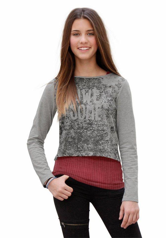 s.Oliver RED LABEL Junior Shirt & Top (2-tlg.), für Mädchen in Grau-Meliert-rot