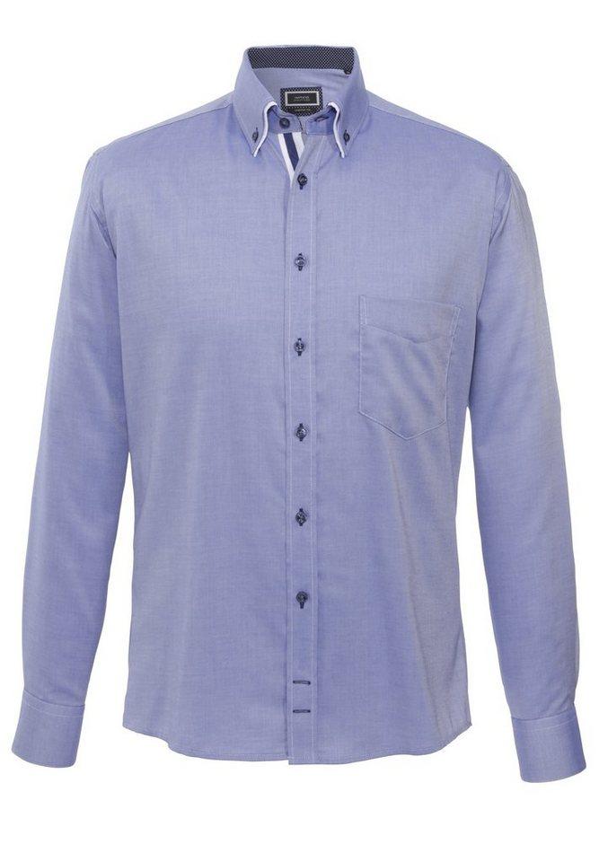 Hatico Bügelfreies Baumwollhemd in blau