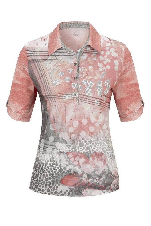 Rabe T-Shirt mit Allover-Print und raffiniertem Kragen in FLAMINGO