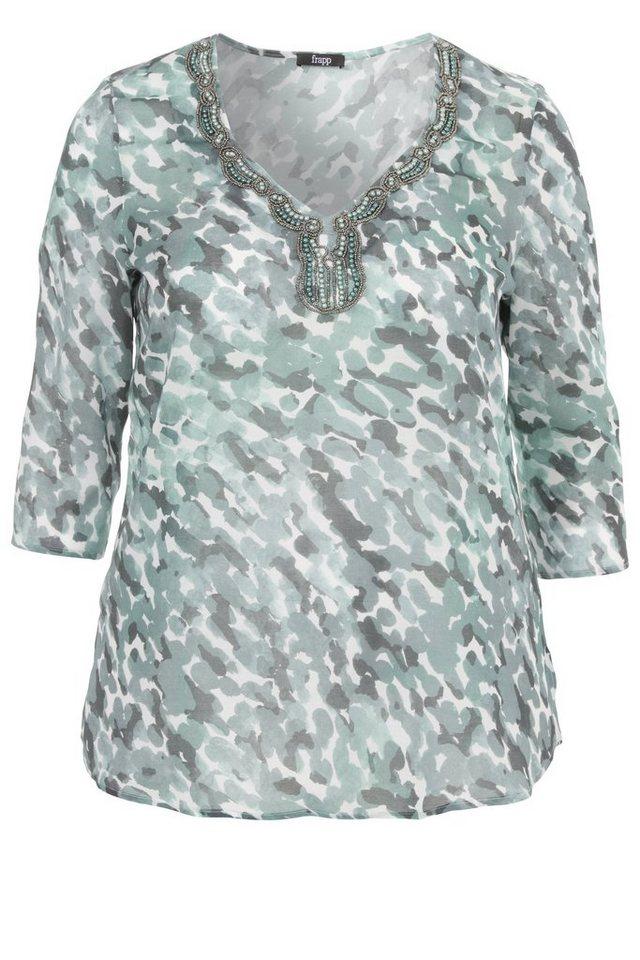 FRAPP Feminine Bluse mit aufwendiger Perlen-Stickerei in JADE MULTICOL