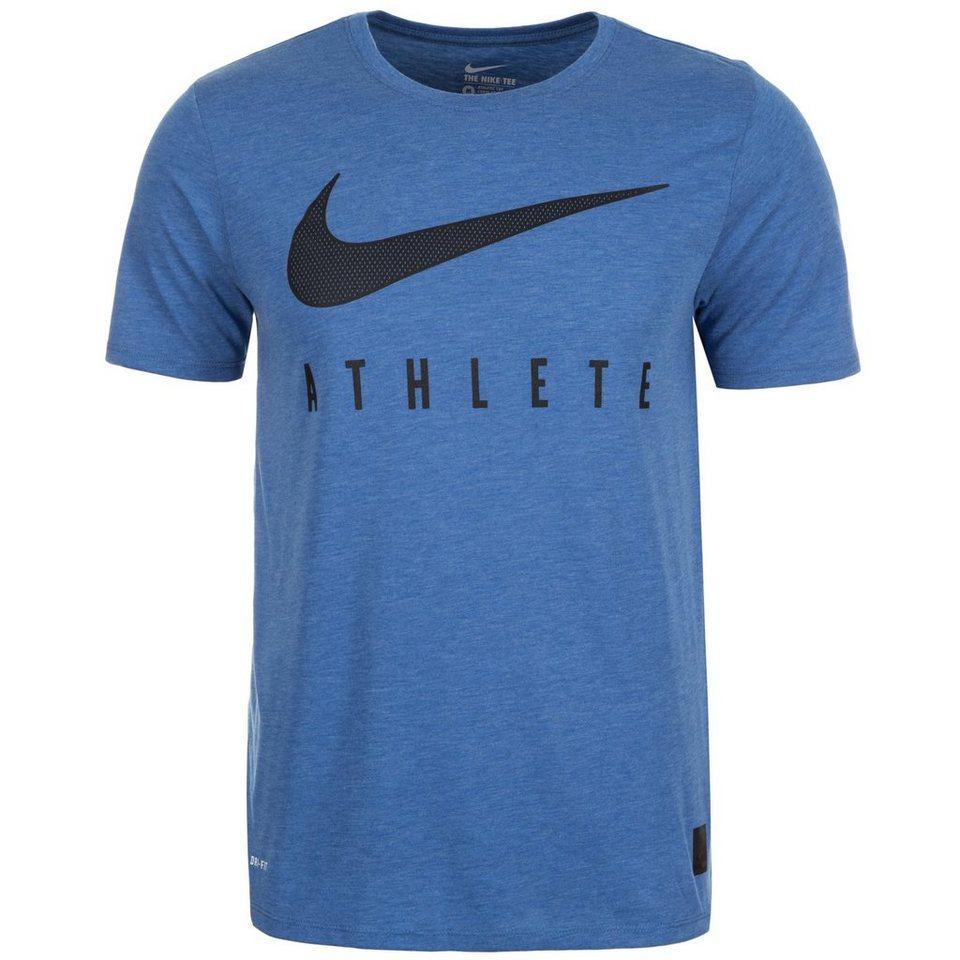 NIKE Dri-Blend Mesh Swoosh Athlete Trainingsshirt Herren in blau / schwarz