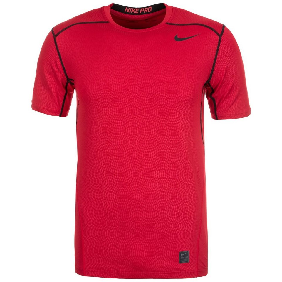 NIKE Pro Hypercool Fitted Crew Trainingsshirt Herren in rot / schwarz