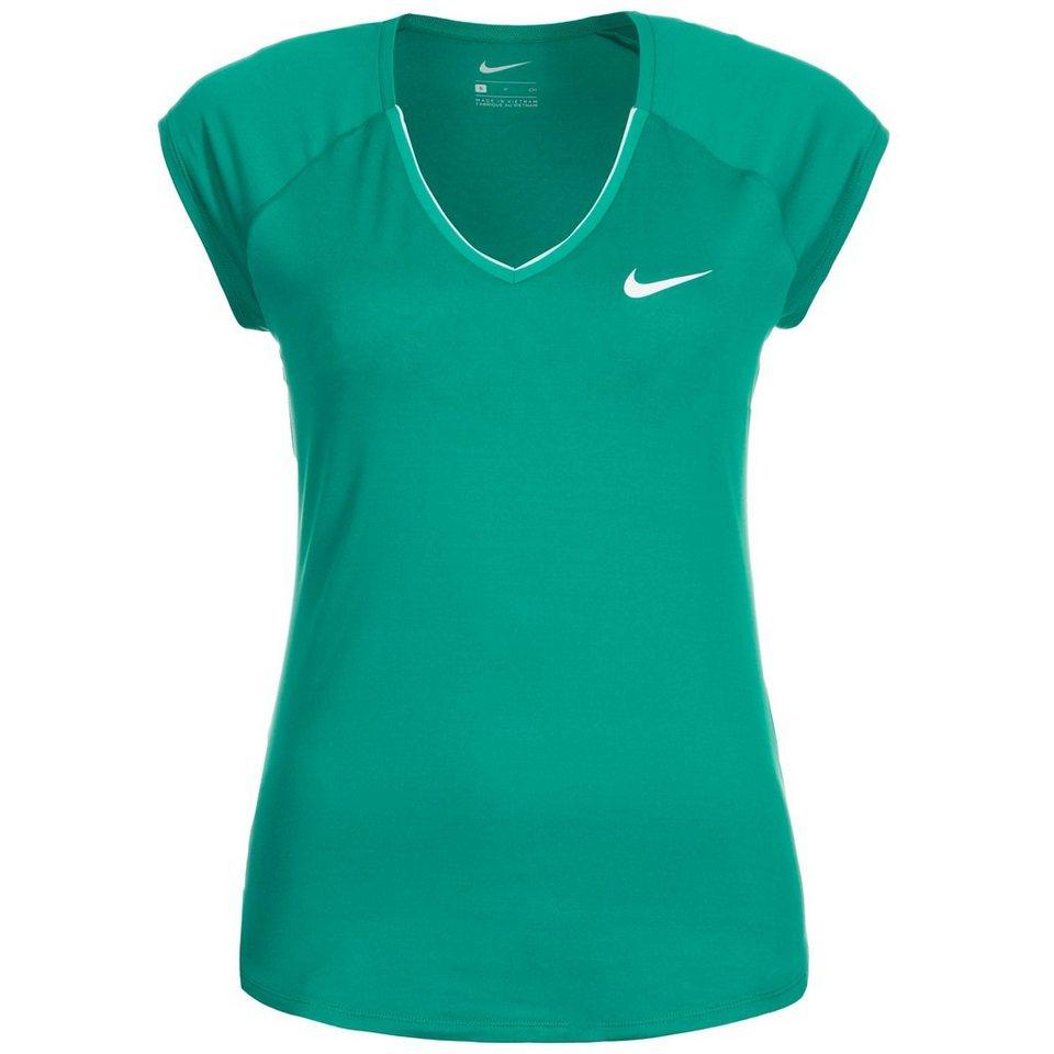 NIKE Pure Tennisshirt Damen in grün / weiß
