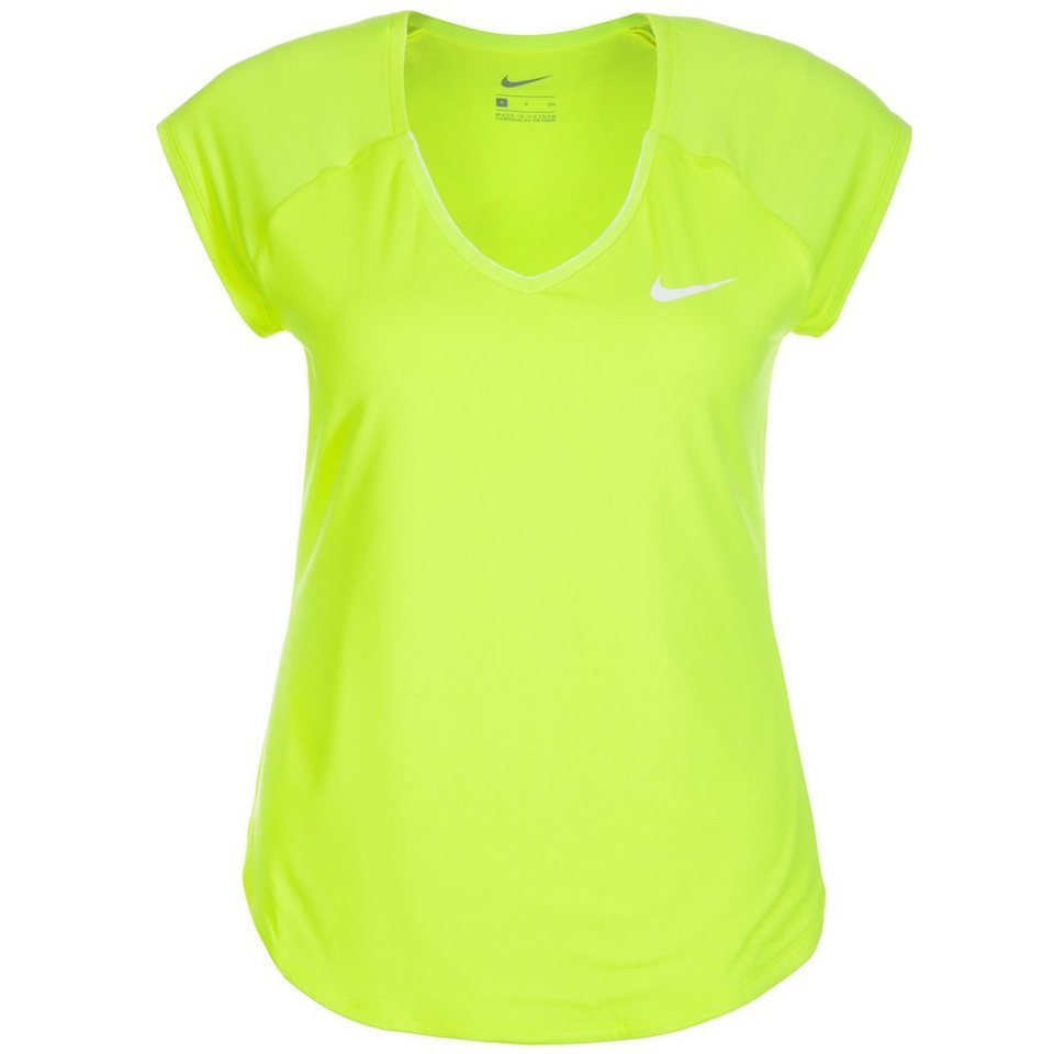 NIKE Pure Tennisshirt Damen in neongelb