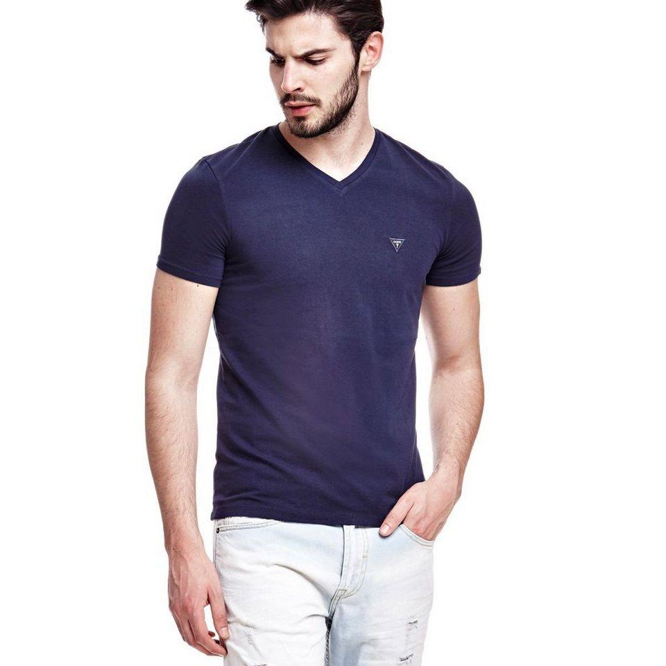 Guess T-Shirt »Plain V Neck« in Blau