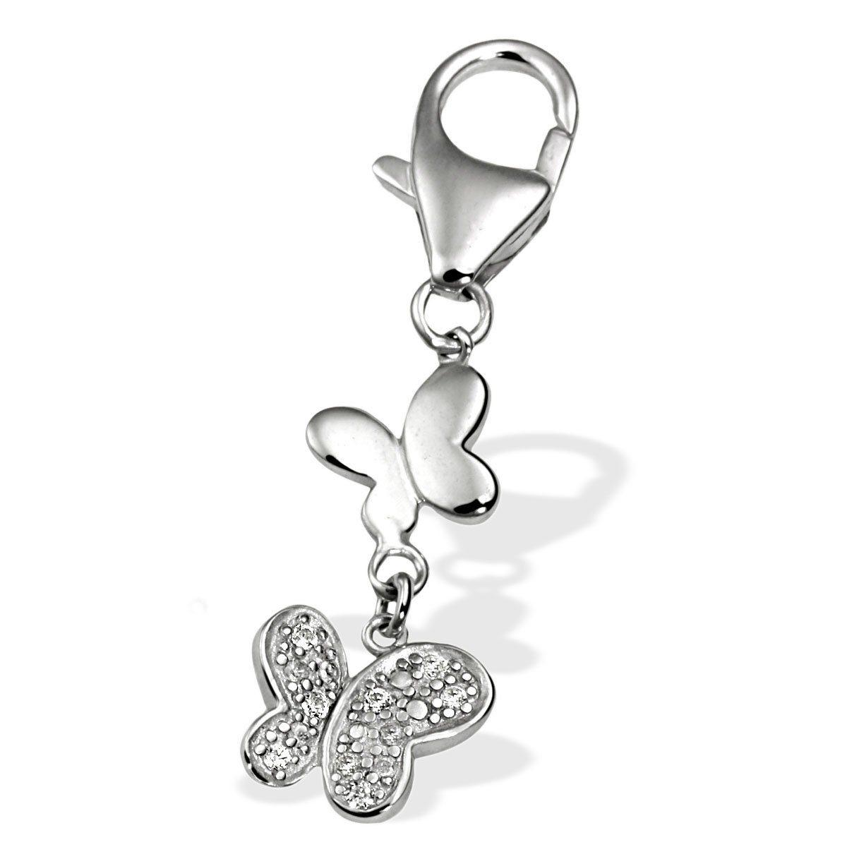 Averdin Charm Silber 925/- zwei Schmetterlinge 8 Zirkonia