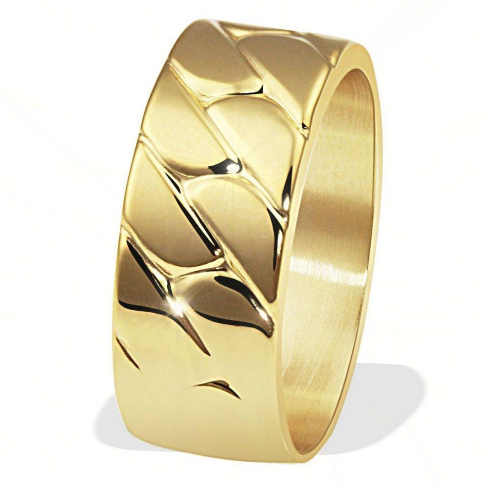 goldmaid Herrenring 375/- Gelbgold Webmuster in goldfarben