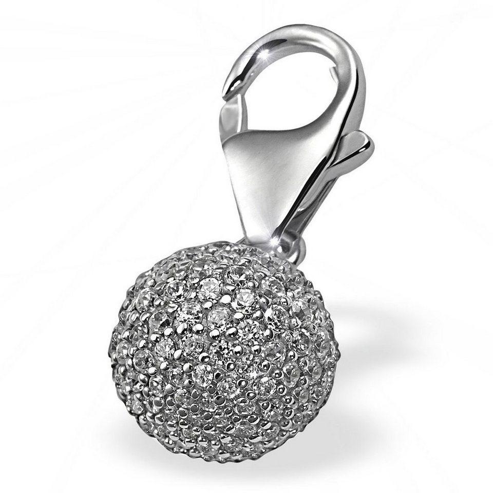 Averdin Charm Silber 925/- Kugel mit 151 Zirkonia in silberfarben