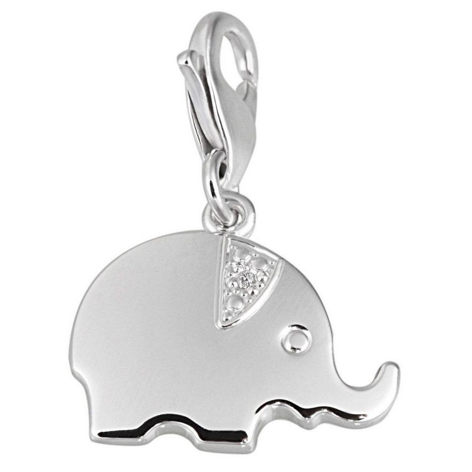 Averdin Charm Sterlingsilber 925/- mit 1 Zirkonia Elefant in silberfarben