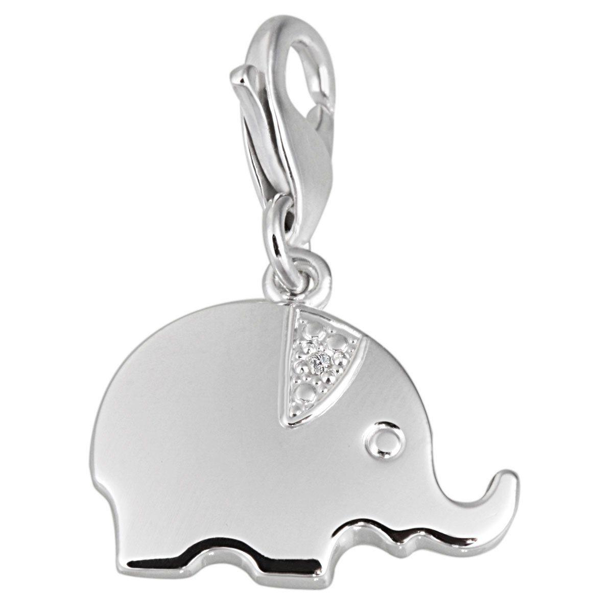 Averdin Charm Sterlingsilber 925/- mit 1 Zirkonia Elefant