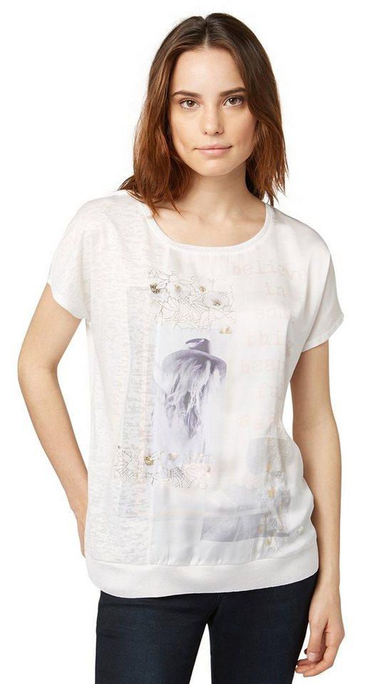 TOM TAILOR T-Shirt »believe mix shirt« in whisper white