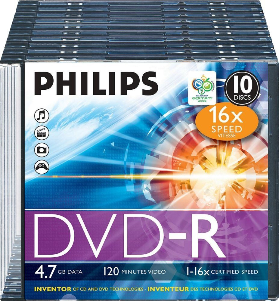 Philips DVD-R 4.7GB/120Min/16x Slimcase (10 Disc)