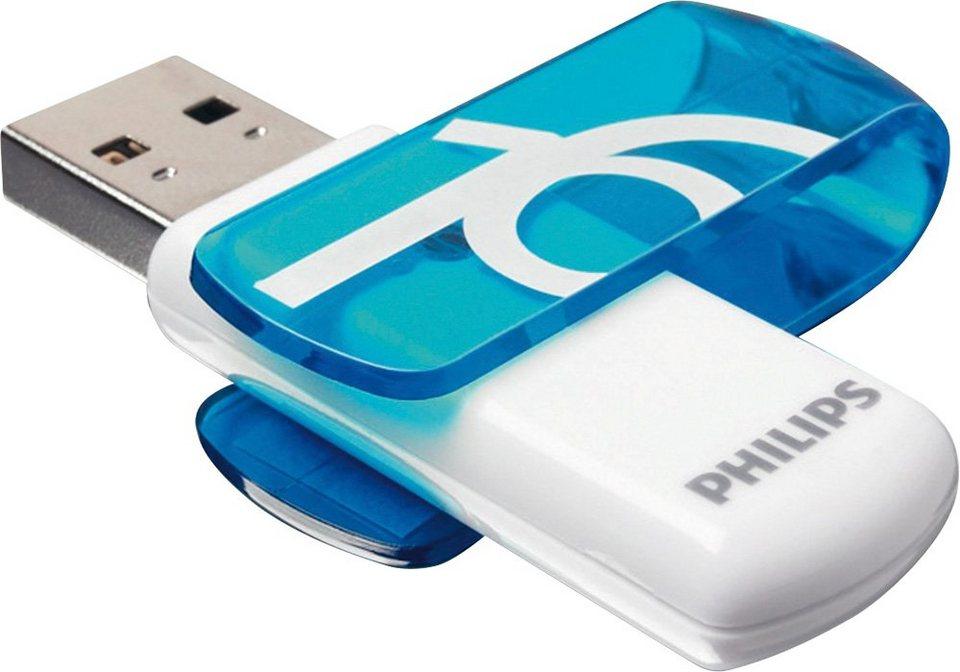 Philips USB 2.0 Stick 16GB, Vivid Edition, White, Blue in blue