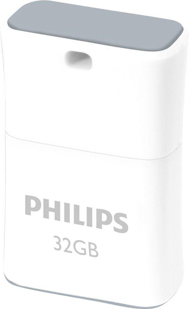 Philips USB 2.0 Stick 32GB, Pico Edition, White, Grey