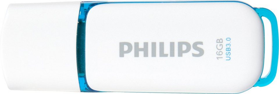 Philips USB 3.0 Stick 16GB, Snow Edition, White, Blue in white