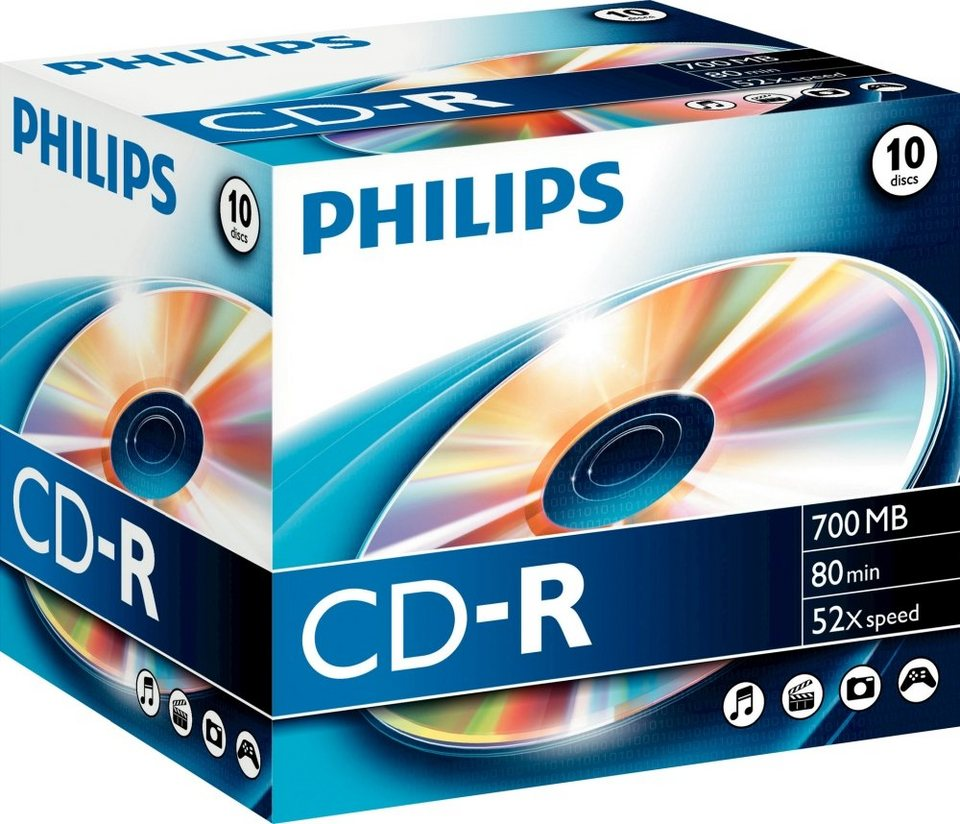 Philips CD-R 80Min/700MB/52x Jewelcase (10 Disc) in silver