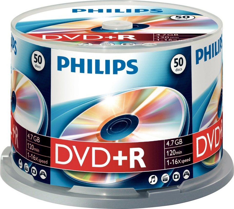 Philips DVD+R 4.7GB/120Min/16x Cakebox (50 Disc)