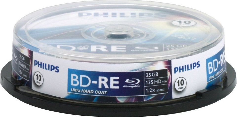 Philips BD-RE 25GB/1-2x Cakebox (10 Disc) in silver