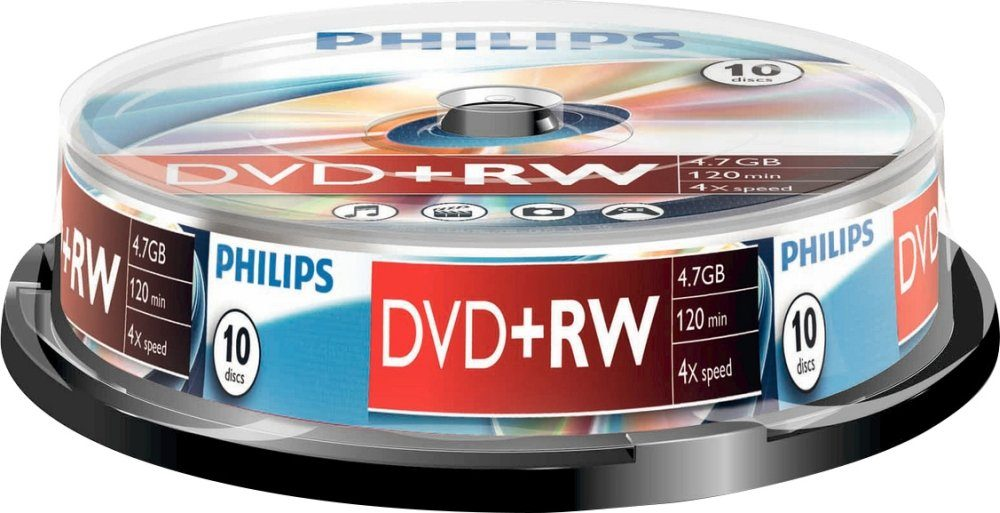 Philips DVD+RW 4.7GB/120Min/4x Cakebox (10 Disc)