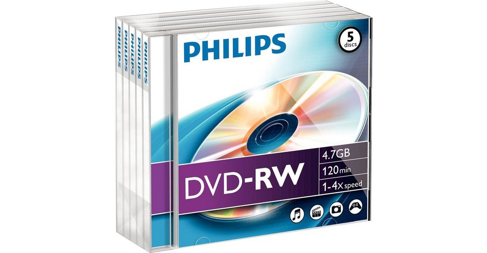 Philips DVD-RW 4.7GB/120Min/4x Jewelcase (5 Disc)
