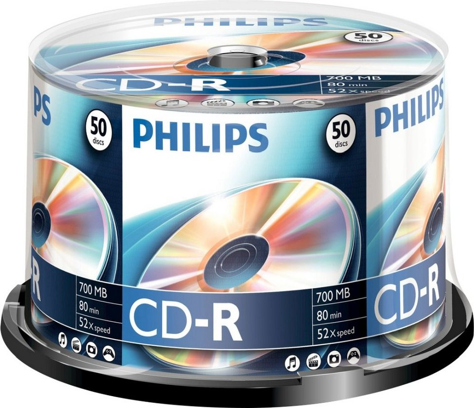 Philips CD-R 80Min/700MB/52x Cakebox (50 Disc) in silver