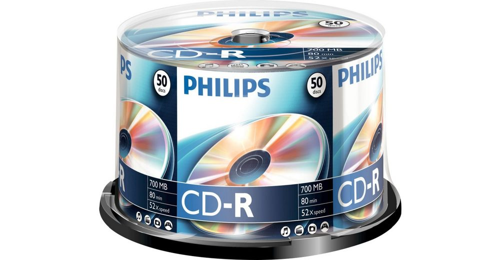 Philips CD-R 80Min/700MB/52x Cakebox (50 Disc)
