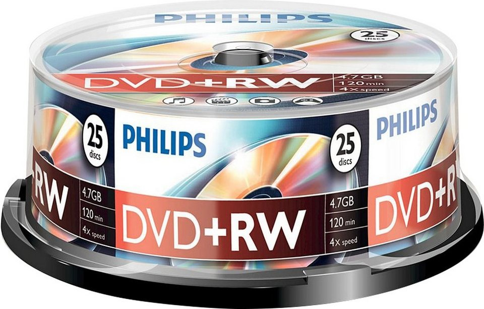 Philips DVD+RW 4.7GB/120Min/4x Cakebox (25 Disc)