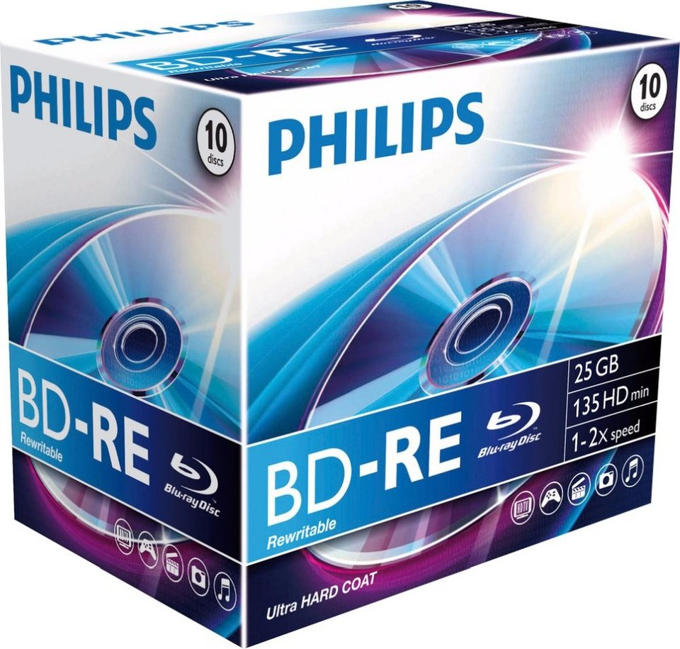 Philips BD-RE 25GB/1-2x Jewelcase (10 Disc) in silver