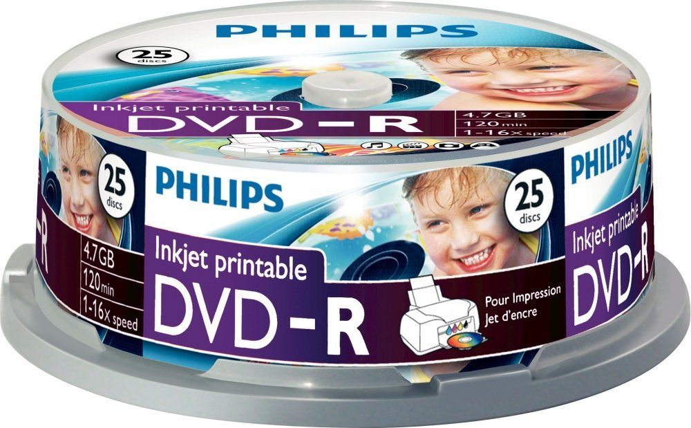 Philips DVD-R 4.7GB/120Min/16x Cakebox (25 Disc)