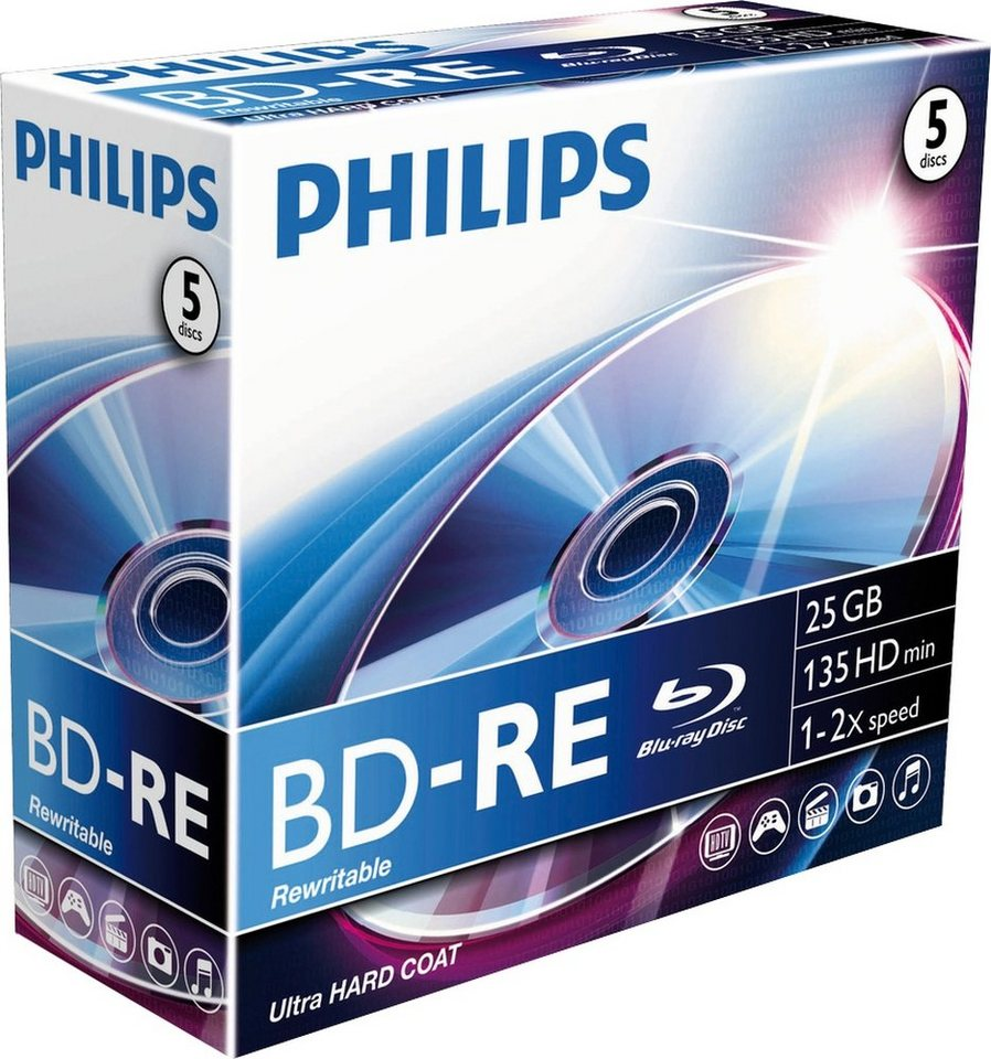 Philips BD-RE 25GB/1-2x Jewelcase (5 Disc) in silver