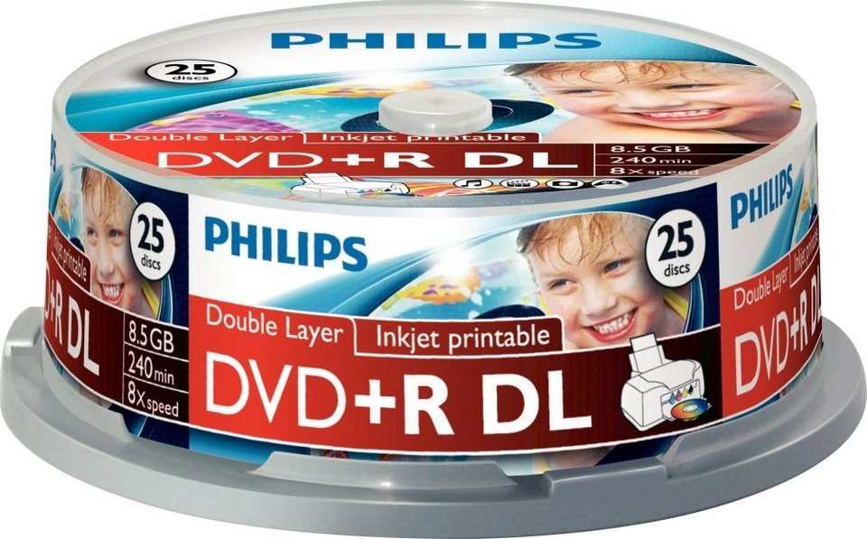 Philips DVD+R DL 8.5GB/240Min/8x Cakebox (25 Disc)