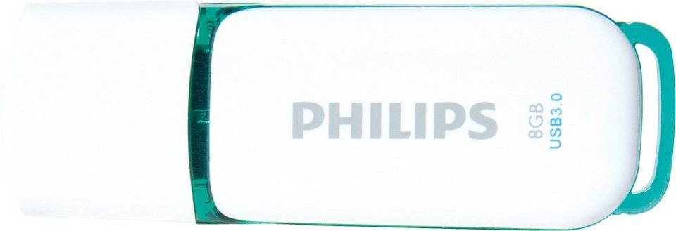 Philips USB 3.0 Stick 8GB, Snow Edition, White, Green in white